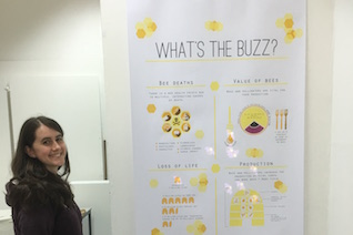 Xanthe Bodington beside her interactive bees poster