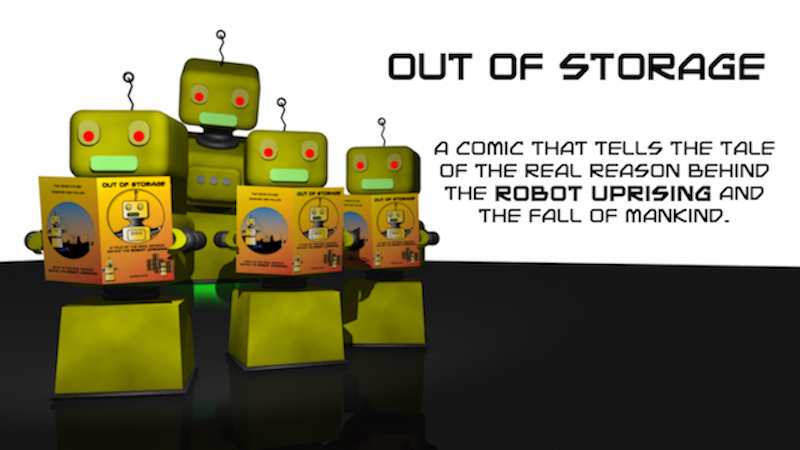 Robots reading Out of Storage comic