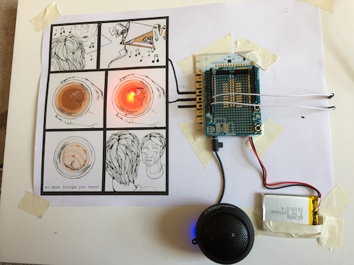 A page of The Price graphic novel wired up to a Bare Conductive Touch Board triggering a red glowing LED.